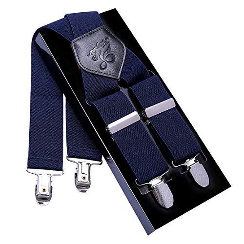 Bretelle Uomo KANGDAI Bretelle per uomo 4 fibbie X dietro righe Uomo Bretelle durevoli Bretelle regolabili elastiche Clip di metallo forte