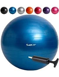 MOVIT Gymnastikball inklusive Pumpe, 65cm bzw. 75cm, 7 Farben, Maximalbelastbarkeit bis 300kg, berstsicher