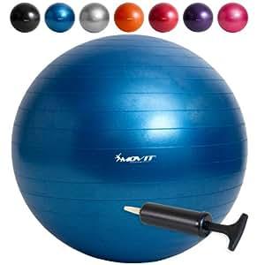 Movit Gymnastikball mit Pumpe Fitnessball Sitzball 65 cm in blau, Maximalbelastbarkeit bis 300kg, Anti Burst Material