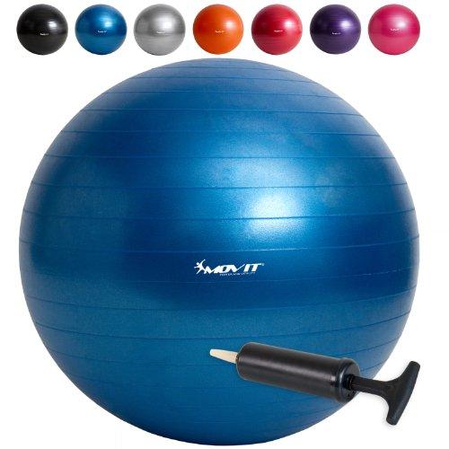 MOVIT Gymnastikball mit Pumpe Fitnessball Sitzball 75 cm in blau, Maximalbelastbarkeit bis 300kg, Anti Burst Material