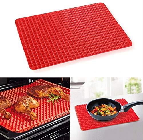 Best Backmatte  Silikon- und gesunde hitzebeständig erhöhte Pyramide Form Silikon Kochen Bräter Barbecue Grill Pad Backpinsel, rot