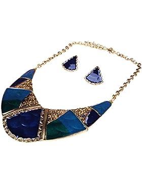 QIYUN.Z Blauer Emaille Tibet Bib Halskette Ohrstecker Se Halskette Anhänger Halsketten Ketten