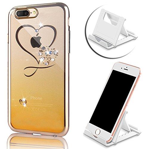 iPhone 7 Plus Hülle, Vandot Plating Glänzend TPU Case Cover für iPhone 7 Plus Schutzhülle Transparent Luxus Diamant Rhinestone Bling Muster Pattern Telefonkasten Abdeckung Silikon Weich Dünnen Handy S Color 8