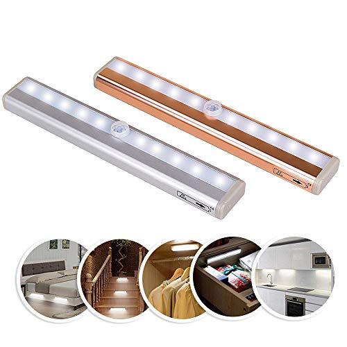 STARAYS Led Bewegungssensor Nachtlicht, Aluminium Wireless Battery Powerd abnehmbare Wandleuchte Schrank Schrank Lichter,Gold,Coldlight