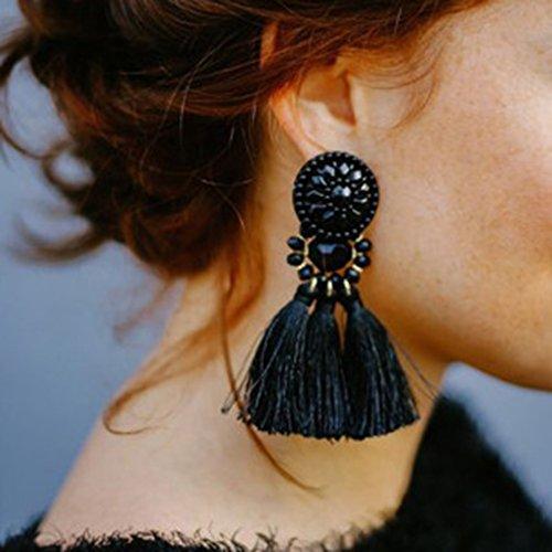 BIGBOBA 1 Paar Wei? Schmuck Wolle Ohrringe personalisierte Quaste Anhänger Ohrringe Freundin Lieblings Urlaub Geschenk Elegante Damen Schmuck Ohrringe (Urlaub Wolle)