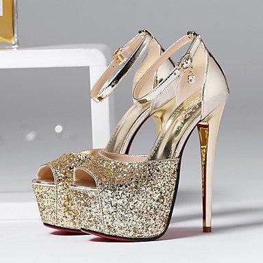 LvYuan Sandalen-Büro Party & Festivität Kleid-Kunststoff-Stöckelabsatz-Club-Schuhe-Silber Gold Silver