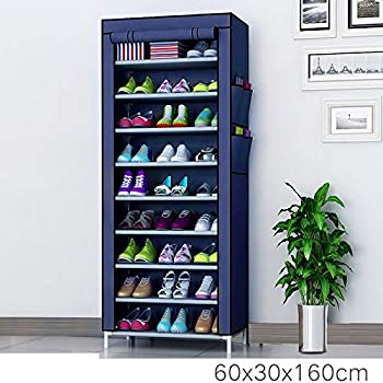 Tinnitus 9 Layer Multipurpose Portable Folding Shoe Rack/Shoe Shelf/Shoe Cabinet with Wardrobe Cover, Easy Installation Stand for Shoes (9 Layer in NavyBlue) (Shoe Racks for Home)