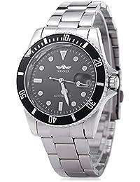 Leopard Winner W042602 - Reloj de pulsera automático mecánico para hombre, luminoso, fecha, tapa trasera transparente