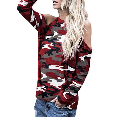 Damen Schulterfrei Camouflage Langarm Bluse Tops T-Shirt,Rosennie V-Ausschnitt Reizvolle Crop Tops Frauen Bluse Casual Off Shoulder Hemd Top Oberteil Long-Shirt Tunika Pullover(Wein,S)