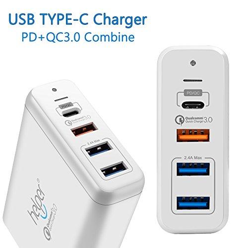 4-Ports 75W USB Typ-C PD 3.0 / QC 3.0 / 2.0, Ladegerät mit USB-C Stromversorgung, Schnellladung und 1.8m USB C zu USB C Kabel für Macbook , ACER swift,ASUS Zenbook Zenfone Nexus Google und Mehr