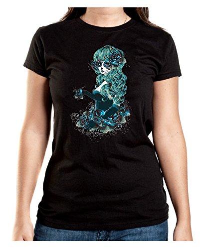 Santa Muerte Blue T-Shirt Girls Black Certified (Muerte Kostüme La)