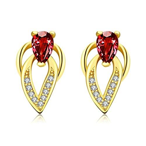 Gnzoe Gioielli 18K Oro Placcato Drop Orecchini Pear Forma Rosso Cristallo Eco Amichevole - 5 Ct Orecchini Di Diamanti
