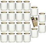20 leere sechseckige Einmachgläser Hexagon 295 ml incl. Drehverschluss Gold und Flaschendiscount-Rezeptbroschüre, Vorratsgläser, Marmeladengläser, Einkochgläser, Gewürzgläser, Einweckgläser
