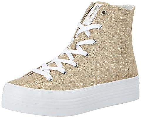 Calvin Klein Jeans Damen Zabrina Metallic Jacquard High-Top, Gold (Gld), 38 EU (Calvin Klein Sneakers)