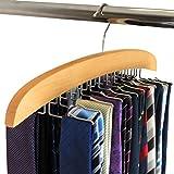 #8: 24 Hooks Premium Wooden Tie Hanger , Tie Rack Organiser