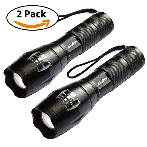 LED Taschenlampe, Elekin Taktische Taschenlampe 1000 Lumen Extrem Hell, Hochleistungs, IP65 Wasserfest, 5 Modi, Tragbare Taschenlampe fürs Freie mit Einstellbarem Fokus für Camping Outdoor Wand - 2 Stück