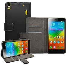 Membrane - Negro Cartera Funda Carcasa para Lenovo K3 Note (K50-t5) - Wallet Case Cover + 2 protectores de pantalla