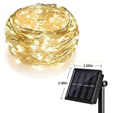 Light color: LED QTY: 200 LEDs Switch: ON/OFF MODE Solar panel: 2V 300mAh Battery: 2V 1000mAh Charging time: 6-8 hours Working time: 10 hours Material: Silver-coated copper wire Total length: 66ft Distance between the LED lights: 0.39 inch Operations...