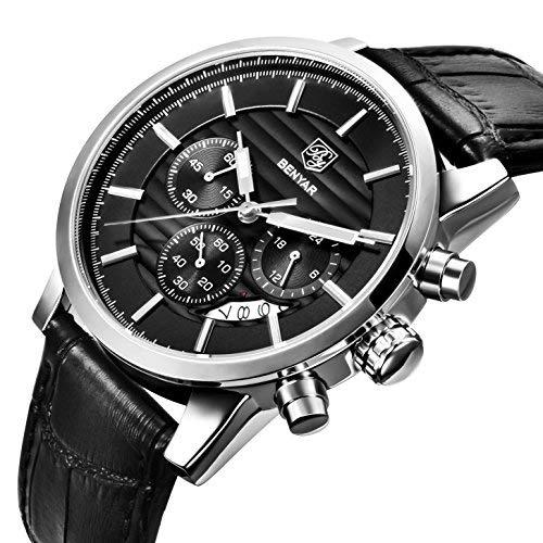 BY BENYAR - Stylische Business-Armbanduhr für Herren | Schwarzes Lederarmband | Quarzwerk | 30M Wasser- und Kratzfest Anlass Verfügbar in Mehreren Farbbändern