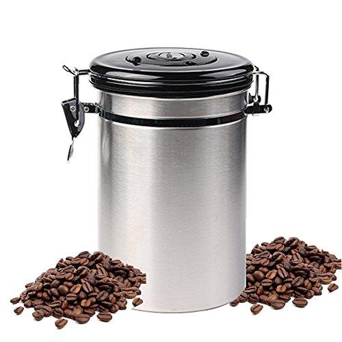 Kaffedose Edelstahl Luftdichte 500g Luftdicht behälter Vorratsdosen Edelstahl mit Ventil vorratsdosen set aufbewahrung Kaffeedose Edelstahl luftdicht 1.8L vorratsdose rund dosen Ideale Vorratsdosen-Set für Tee, Kaffee, Zucker, Kaffebohnen