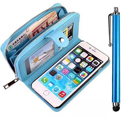 Case IPhone 5C Etui,Vandot IPhone 5C Etui en PU Cuir IPhone 5C Coque Feuille magnétique Style fermeture Flip Coque Etui Portefeuille de Protection Cover Coquille Couverture avec Fonction Stand et les  zipper Bleu