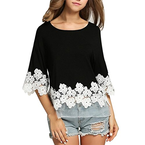 Vovotrade Heiß!! Frauen Spitze Patchwork Blumen drei Viertel T-Shirt (Size:M, Schwarz)