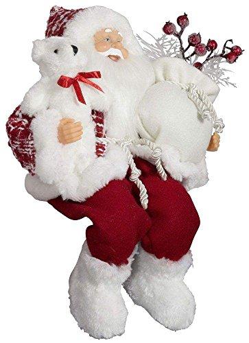 Weihnachtsmann Santa Nikolaus Melvin Kantenhocker mit schönem Gesicht und vielen Details / Größe ca.45cm / rot karierter Fellmantel, rot karierte Fellmütze, rote Hose, weiße Fellstiefel, Trendyshop365