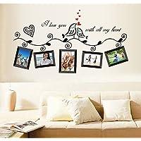 ufengke® Uccelli di Amore Romantico Photo Frame Adesivi Murali, Camera da Letto Soggiorno Adesivi da Parete Removibili/Stickers Murali/Decorazione Murale, Nere
