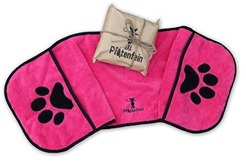 Hundehandtuch, Premium Handtuch für Hunde – PFOTENFEIN® – flauschig – Pink – Eingriffstaschen, Taschen für die Hände – 400 g/qm Mikrofaser – saugfähig, schnelltrocknend, antibakteriell – 90x30cm - Geschenk