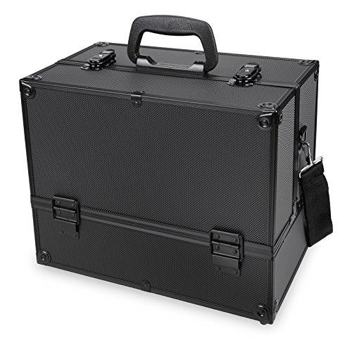 , SummerRio Damen Abschließbare Schmuckkoffer Schminkkoffer Schmuckbox Make Up Box, Schwarz Silber Rosa, 35.5 x 21.5 x 28cm (Schwarz) (Schwarz Rosa Make Up)