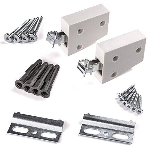 Schrank Aufhänger (5 x SO-TECH® Schrankaufhänger weiß Wandhalterung Schrankhalterung Tragkraft 120 kg | SET KOMPLETT)