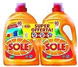 Sole Colori Protetti e Brillanti, Detersivo per Lavatrice Liquido, 2 Confezioni da 40 Lavaggi