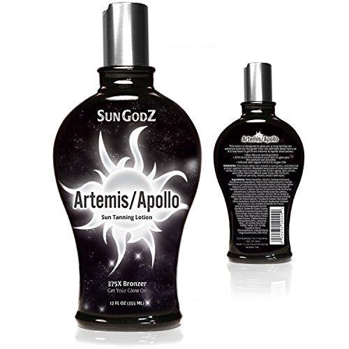 Bronzer Indoor Tanning Lotion (SunGodZ Apollo/Artemis 375X Bronzer Tanning Lotion with Argan, Coconut Oil and Agave by SunGodZ)
