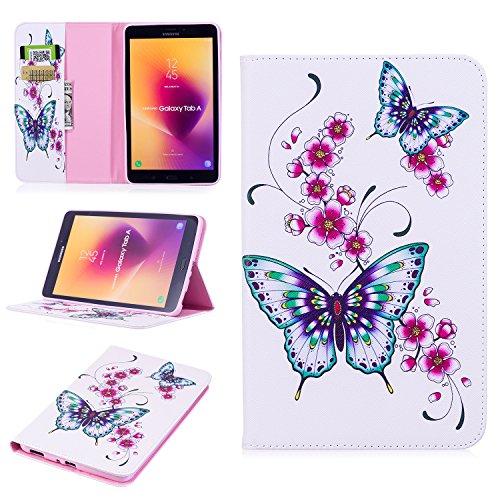 Fizze Schutzhülle für Samsung Galaxy Tab A 8.0 SM-T385/T380 2017 (stoßfest, aus PU-Kunstleder, magnetisch, abnehmbare Brieftaschen-Hülle mit Kartenfächern und Geldfächern und Ständer)