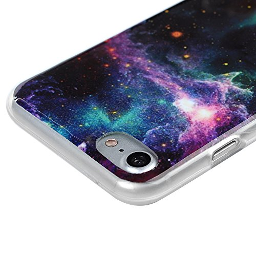iPhone 7 Hülle iPhone 7 TPU Case Cover Kasos Premium Slim TPU Silikonhülle Tasche Handyhülle Bunt Gemalt Durchsichtig Rand Schutzhülle Etui Handytasche Handy Backcover mit Pfingstrose Design Bunte Sterne