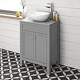 Contemporary Grey Countertop Unit & Basin Floorstanding Floor Standing Sink Bathroon Furniture 600 mm