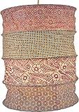 Guru-Shop Suspension Papier Rond, Abat-jour Papier Lokta Kailash, Papier Fait Main - Rose/pastel, DupapierLokta, 35x28x28 cm, Papier Abat-jour Cylindrique