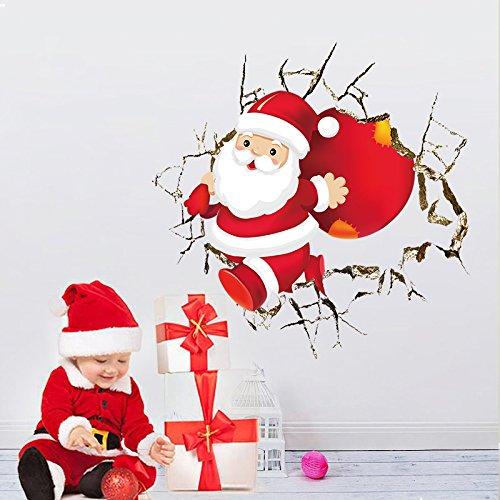 wandsticker4u-vinilos-decorativos-3d-nuestra-santa-claus-esta-aqui-efectos-de-imagen-50-x-50-cm-pega