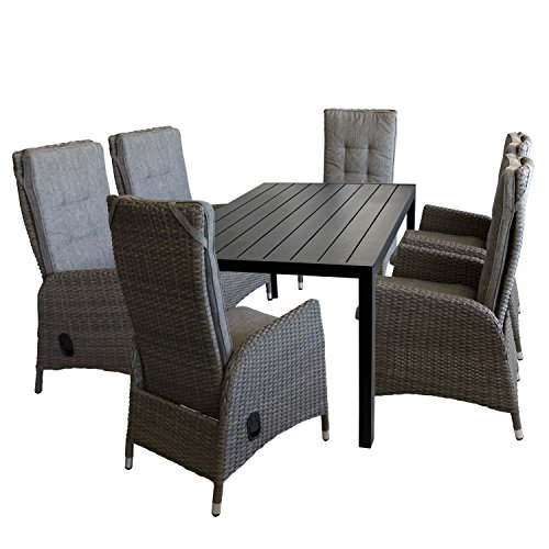 Multistore 2002 7tlg. Gartengarnitur Gartentisch, Polywood-Tischplatte, 150x90cm, schwarz + 6X Gartensessel, Poly-Rattangeflecht, stufenlos Verstellbare Lehne, grau/braun