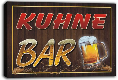 scw3-031943-kuhne-name-home-bar-pub-beer-mugs-stretched-canvas-print-sign