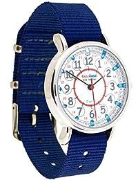 Reloj infantil EasyRead Time Teacher, hora digital en formato de 12 y 24 horas, parte frontal roja, azul y gris, correa azul marino