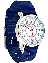 Easyread Time Teacher Kinderarmbanduhr, 12-& 24-Stunden-Anzeige, Zifferblatt in rot, blau, grau, marineblaues Band