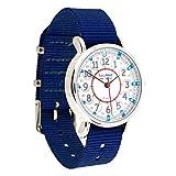 Easyread Time Teacher Kinderarmbanduhr, 12-& 24-Stunden-Anzeige, Zifferblatt in rot, blau, grau, marineblaues Armband.