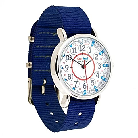 Montre pour enfants EasyRead Time Teacher, à affichage « numérique » 12 et 24 heures, cadran rouge, bleu et gris / bracelet bleu