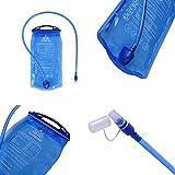 MCTECH Faltbare Trinkblasen Wasserbeutel 2L PEVA Blau Hydratation-Blasen Trinksystem für Camping Wandern Reiten und Klettern (2L) - 4