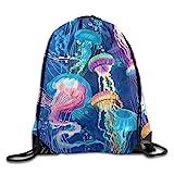 KCOUU Sac à Dos Unisexe étanche avec Cordon de Serrage pour Salle de Gym, école, Voyage Taille Unique Cool Corlorful Jellyfish Pattern
