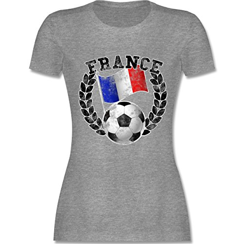 EM 2016 - Frankreich - France Flagge & Fußball Vintage - tailliertes  Premium T-Shirt