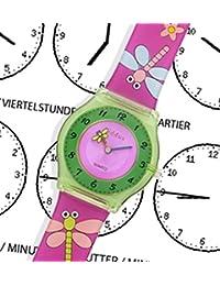 Montre fille pour enfants, apprendre à dire le temps PEDAGOGIQUE, caisse-cadeau, LIBELLE & FLEUR, résistant à l'eau, quartz mécanisme Seiko, batterie Sony, Kiddus KI10103-5