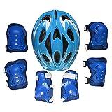 TETAKE Kinderhelm 7Pcs Helm Knieschützer Ellenbogenschützer Set für Jungen und Mädchen 5-13 Jahre Kopfumfang 52-59cm