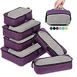 Packing Cubes Packwürfel Set,Kleidertaschen Packtaschen 6-teiliges,ltra-leichte koffer organizer set Ideal für Seesäcke, Handgepäck und Rucksäcke (violett)